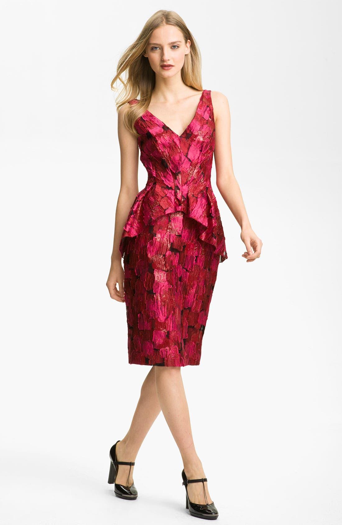 Alternate Image 1 Selected - Lela Rose Print Peplum Dress