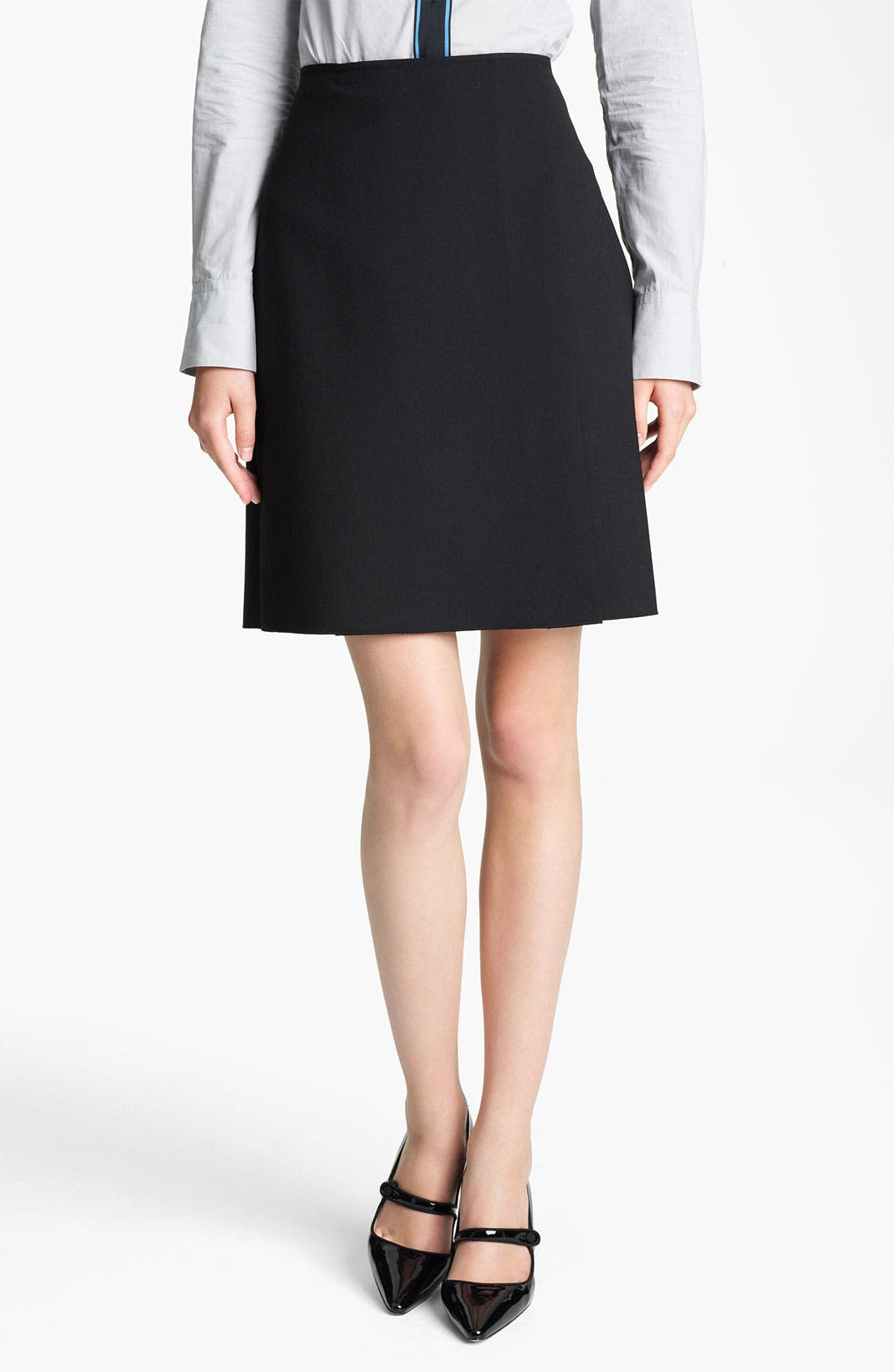 Main Image - Jil Sander Navy Pleat Stretch Wool Blend Skirt