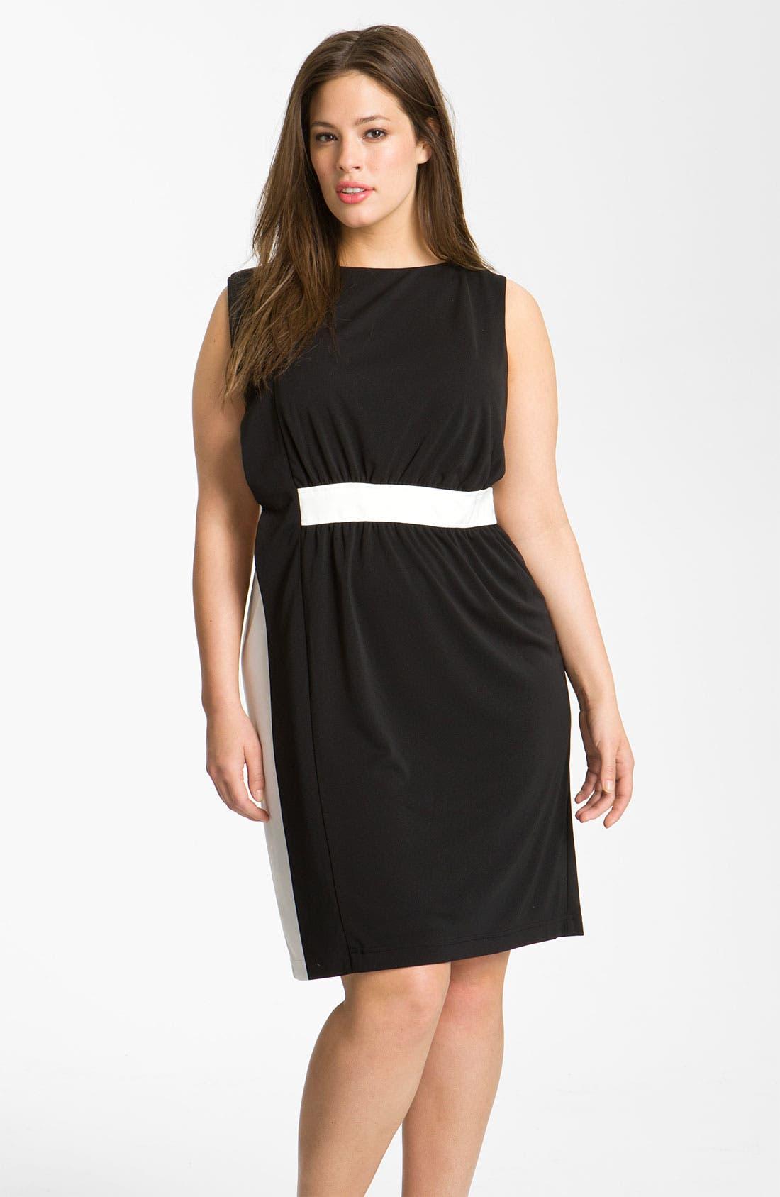 Main Image - Adrianna Papell Colorblock Dress (Plus)