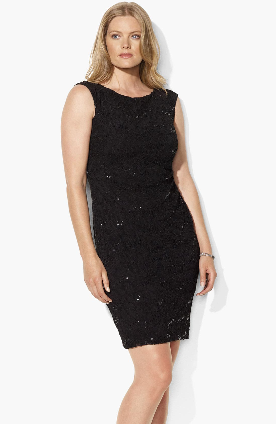 Alternate Image 1 Selected - Lauren Ralph Lauren Stretch Lace Dress (Plus)