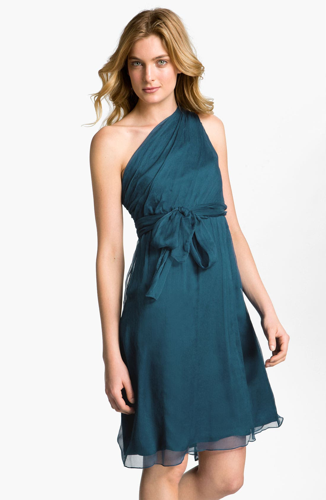 Main Image - Amsale One Shoulder Belted Silk Chiffon Dress