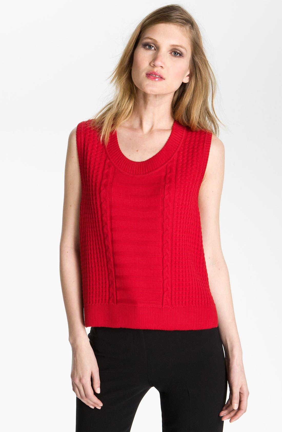 Main Image - St. John Yellow Label Boxy Cable Knit Sweater