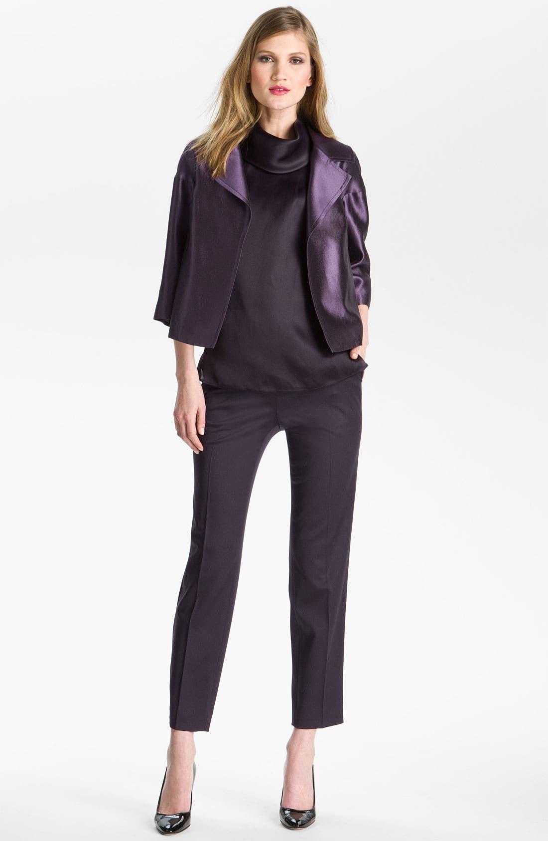 Main Image - St. John Collection Wool & Silk Taffeta Boxy Jacket