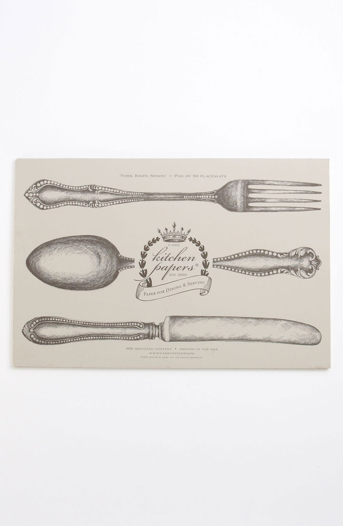 Main Image - Kitchen Papers by Cake 'Fork, Knife, Spoon' Paper Placemat Pad