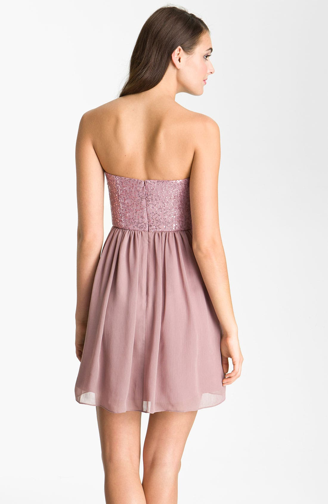 Alternate Image 3  - Max & Cleo 'Monica' Sequin Bodice Sweetheart Chiffon Dress