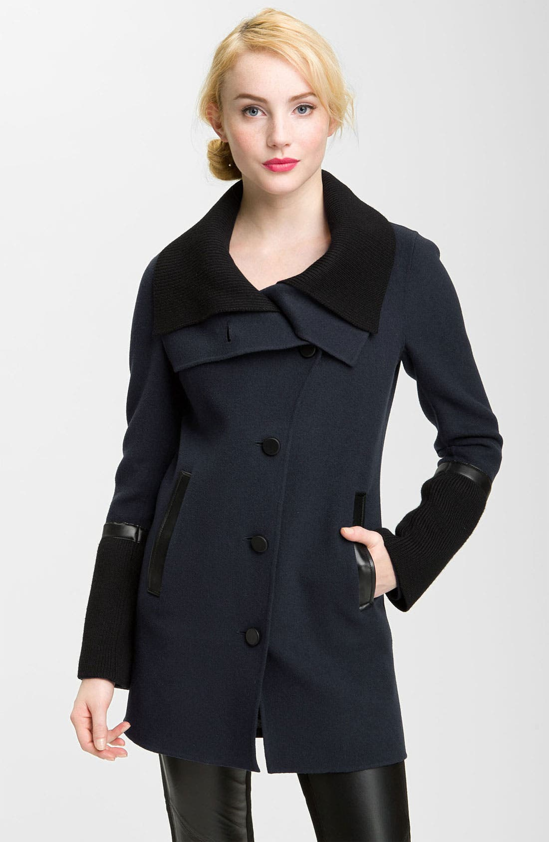 Alternate Image 1 Selected - Mackage Knit & Leather Trim Coat