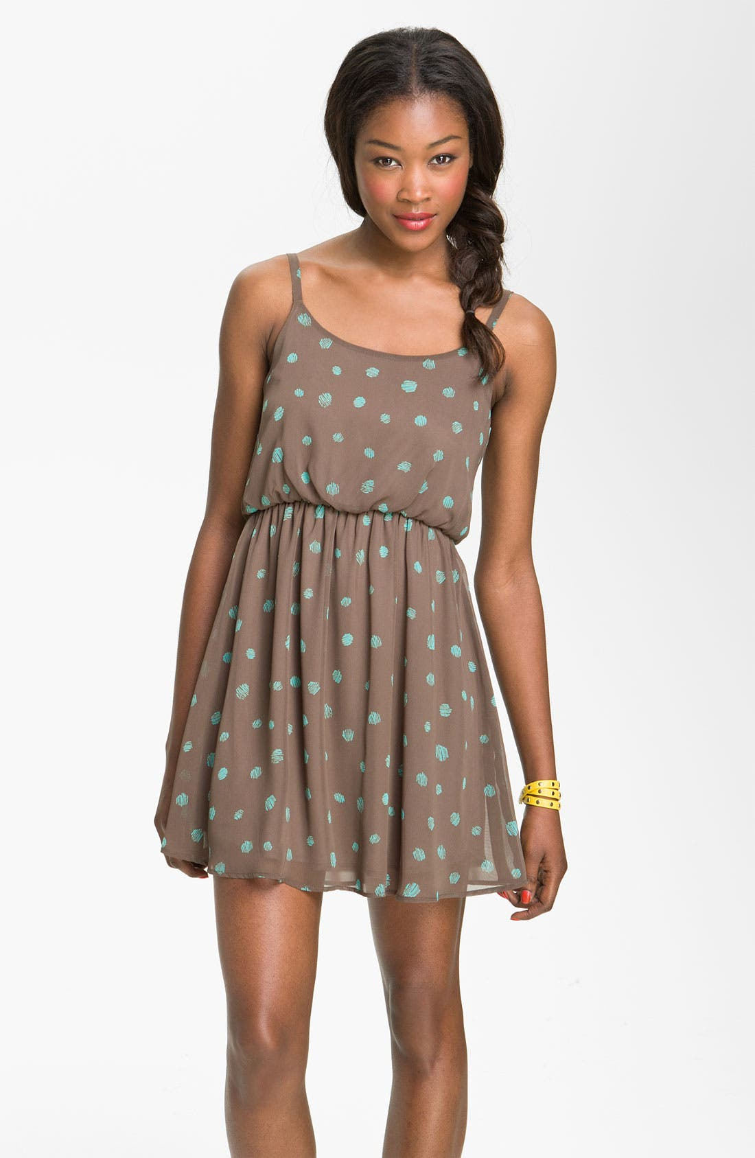 Main Image - Lush Print Blouson Dress (Juniors)