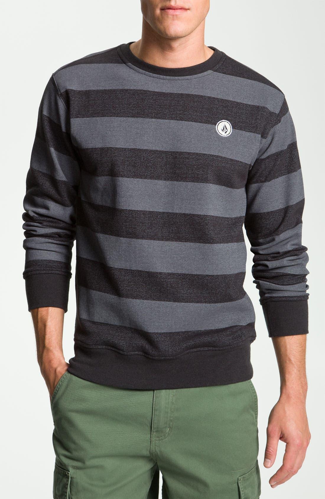 Main Image - Volcom 'Eds' Stripe Crewneck Sweatshirt