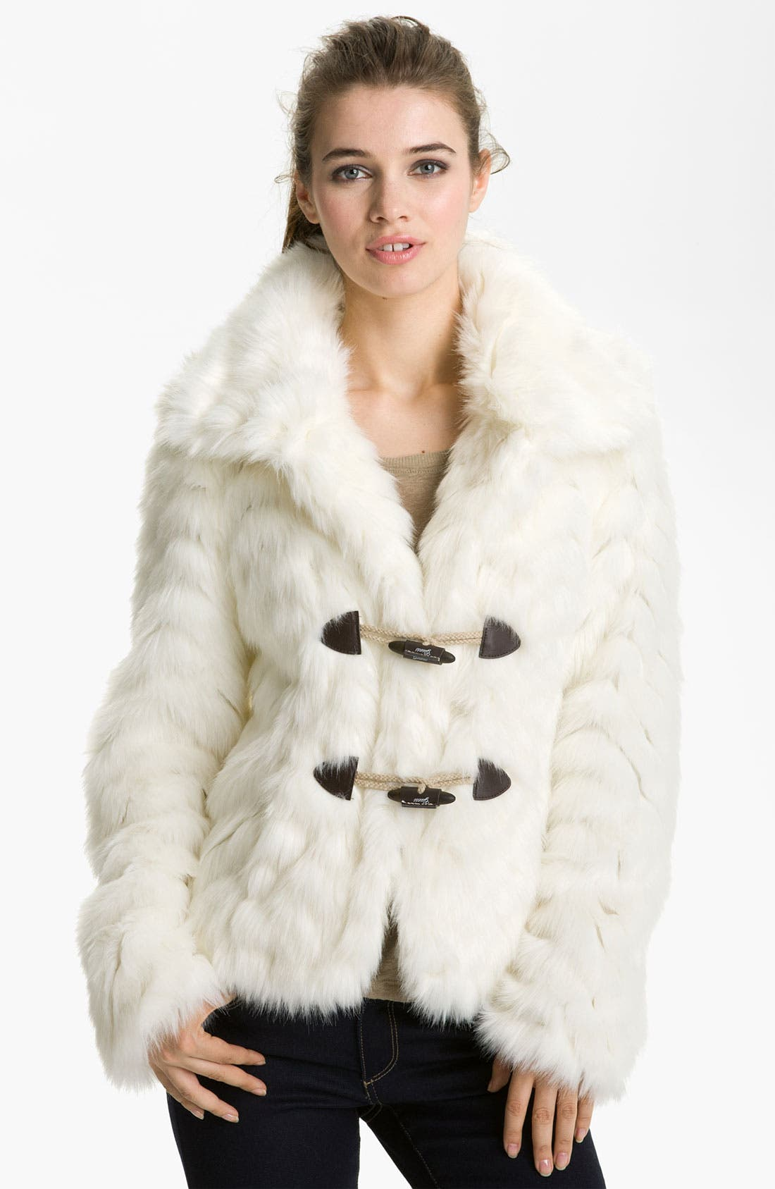 Alternate Image 3  - GUESS Grooved Faux Fur Toggle Jacket