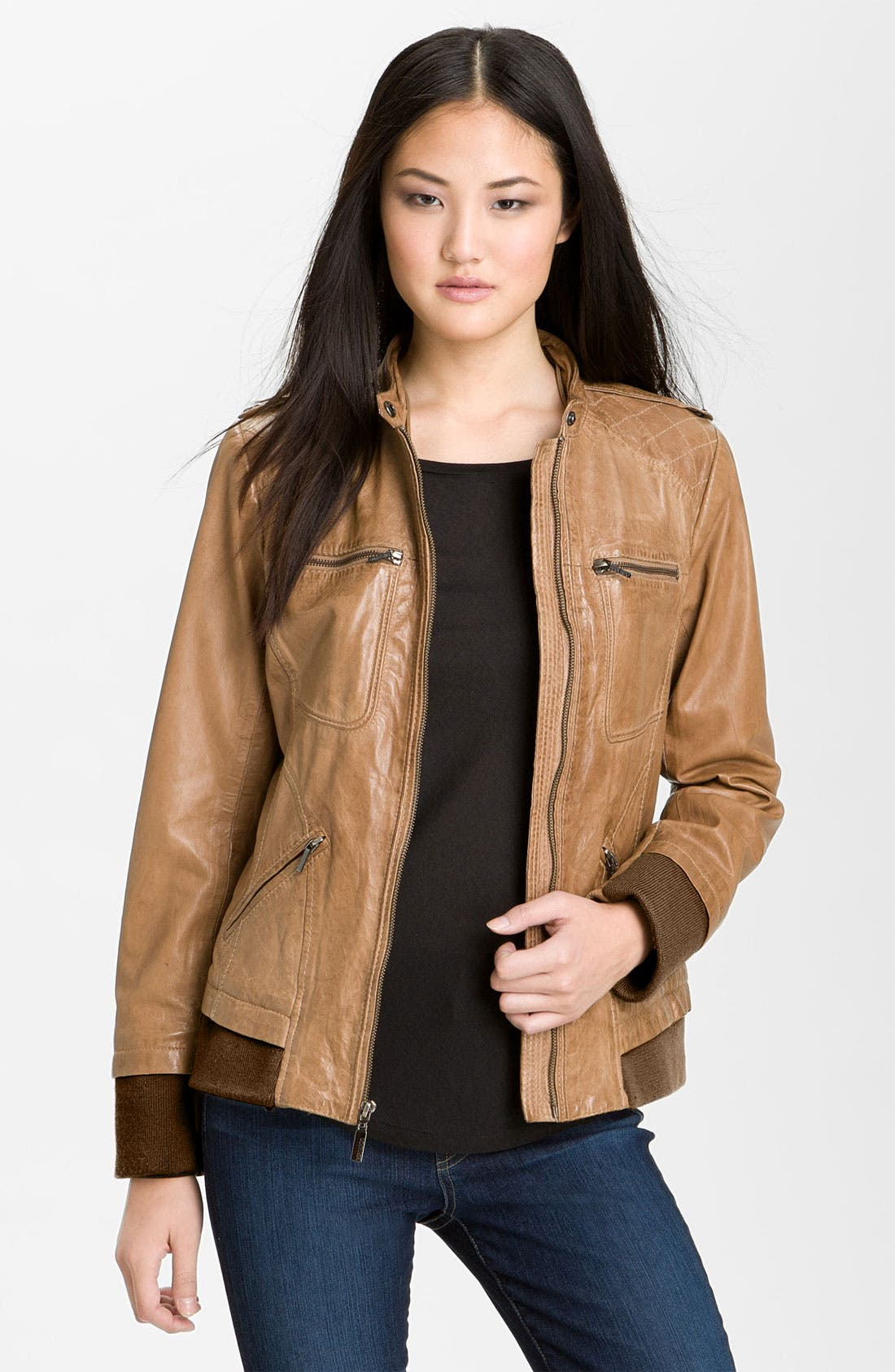 Alternate Image 4  - Bernardo Leather Bomber Jacket with Detachable Hoodie Liner