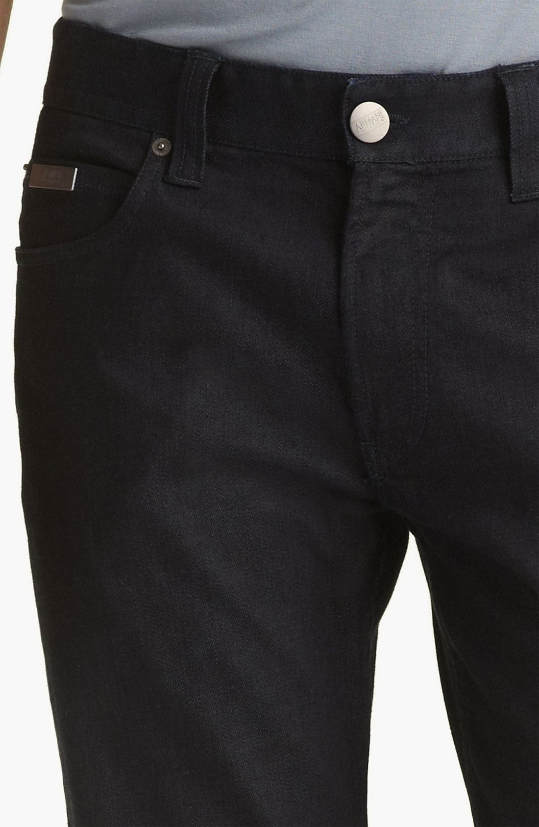 Alternate Image 3  - Armani Collezioni Slim Straight Leg Jeans (Indigo Dark Rinse)