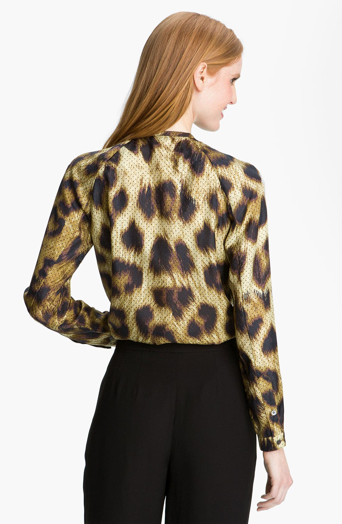 Alternate Image 2  - Magaschoni Dotted Leopard Print Silk Blouse