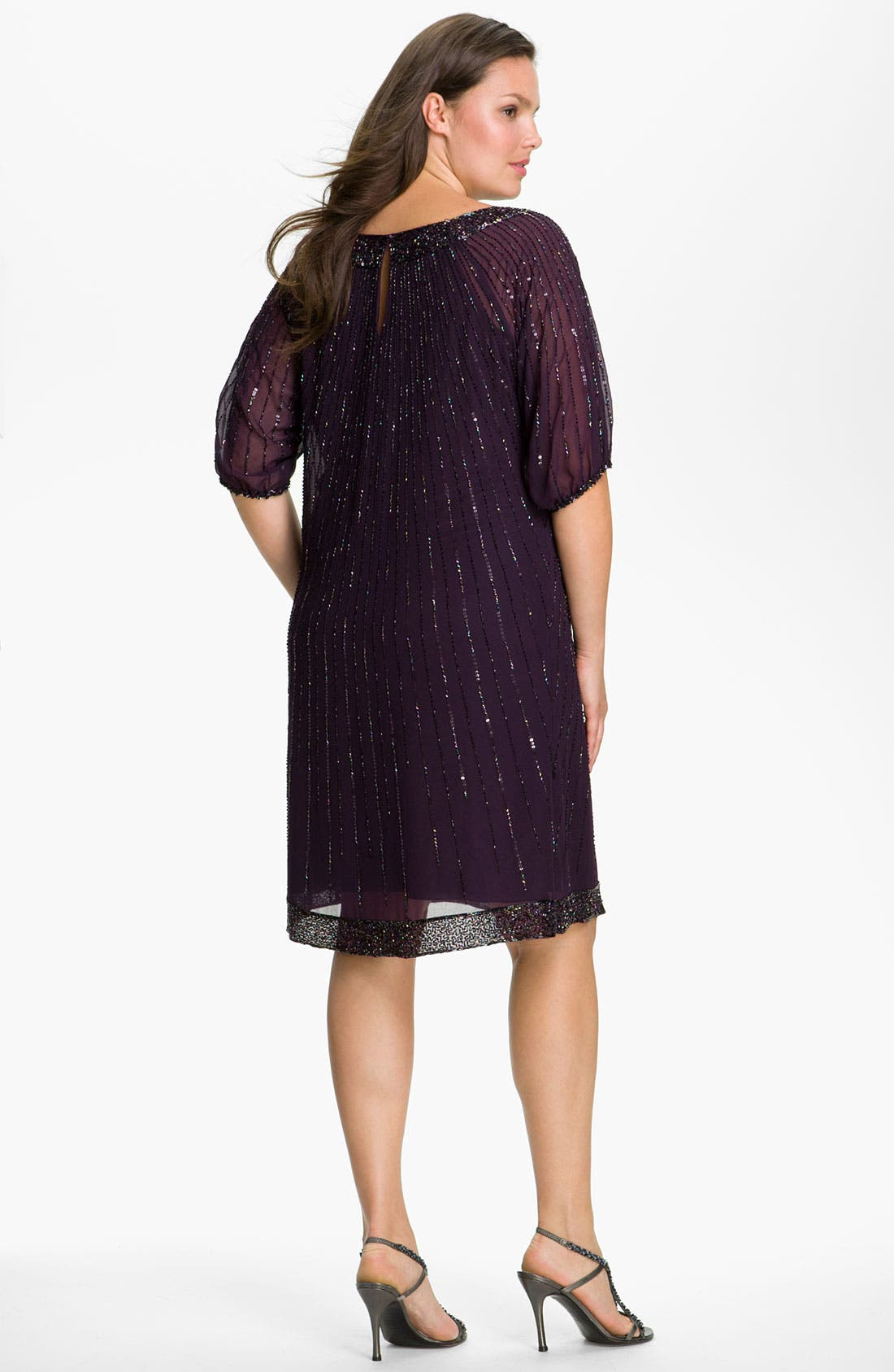 Alternate Image 2  - J Kara Sequin Chiffon Shift Dress (Plus Size)