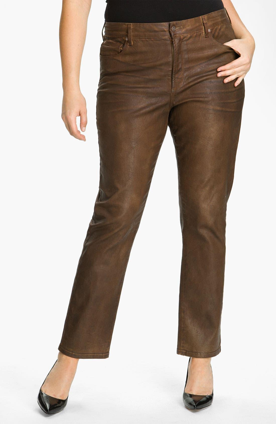 Alternate Image 1 Selected - NYDJ 'Sheri' Skinny Terra Hide Jeans (Plus)
