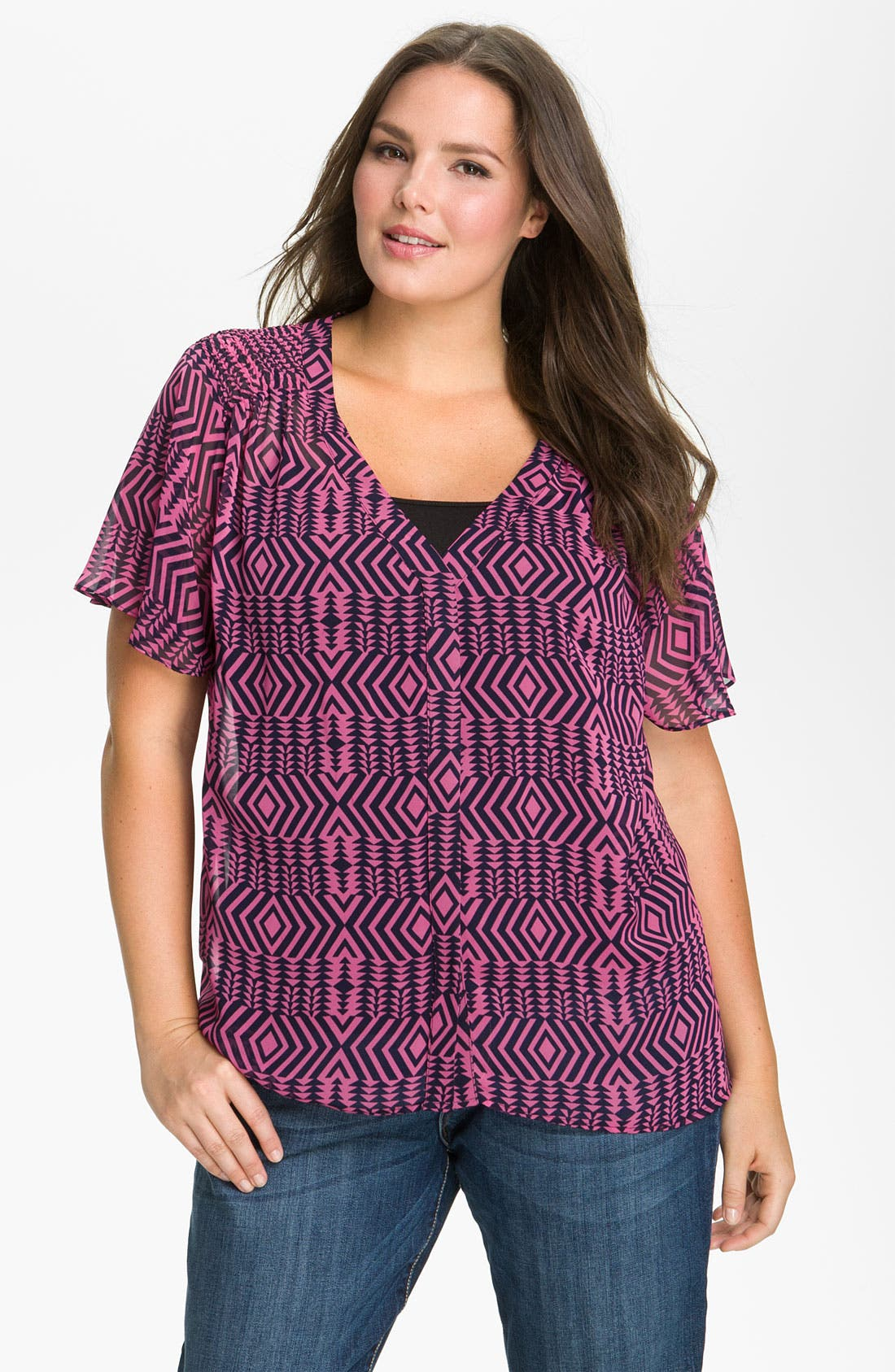 Alternate Image 1 Selected - Pleione Sheer Flutter Sleeve Blouse (Plus Size)