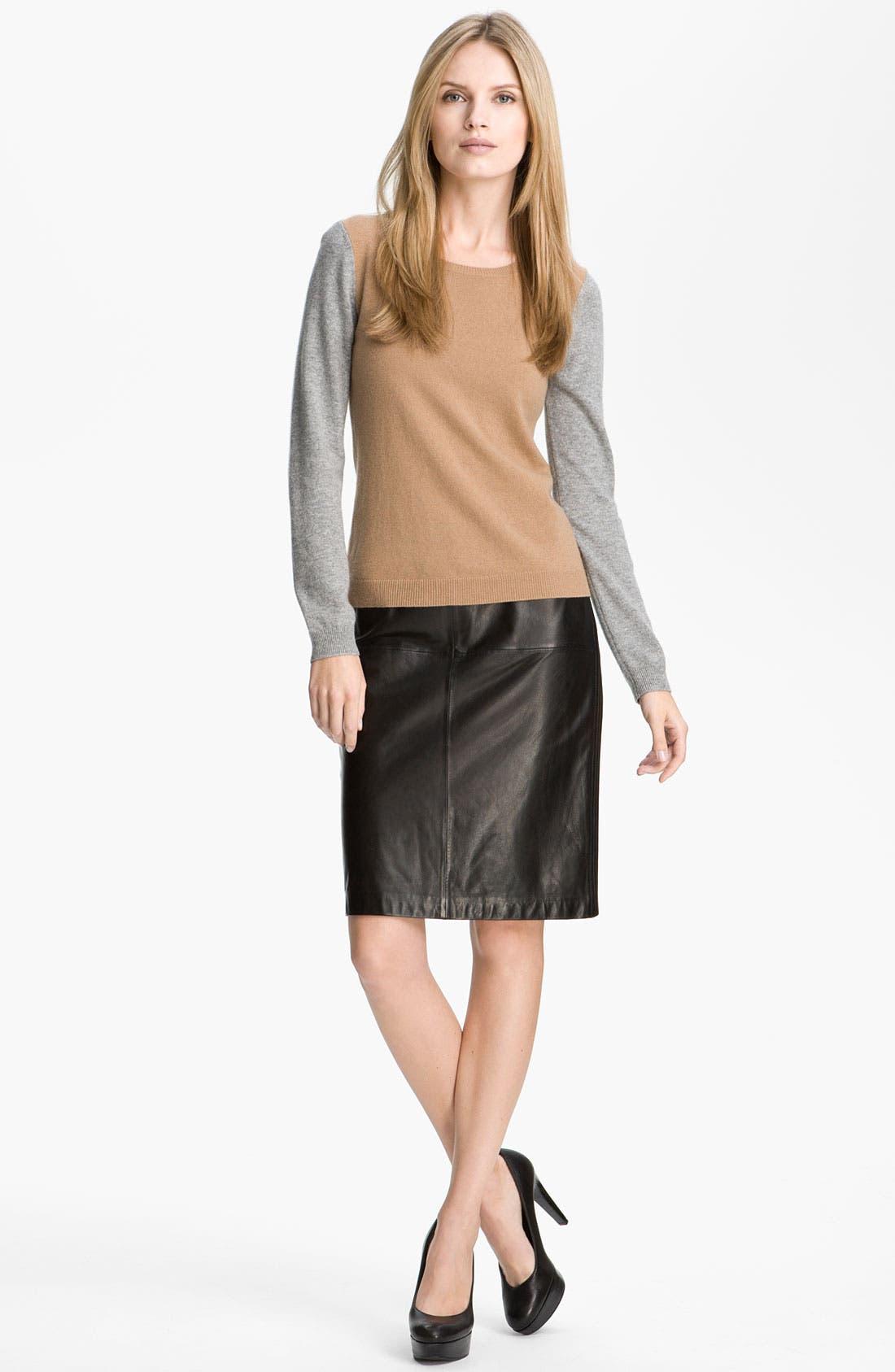 Alternate Image 4  - BOSS Black Leather Skirt