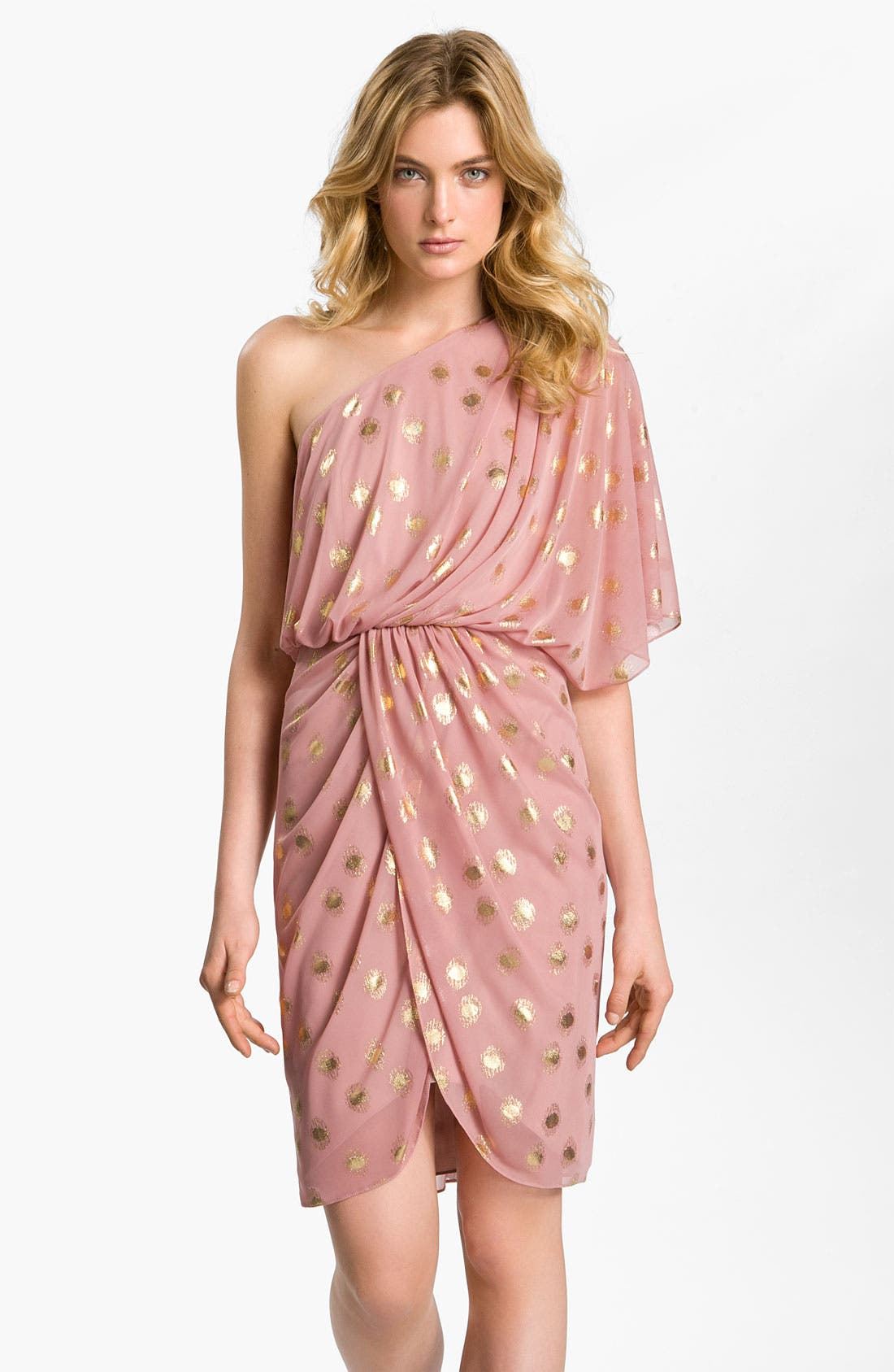 Alternate Image 1 Selected - Adrianna Papell One Shoulder Chiffon Dress