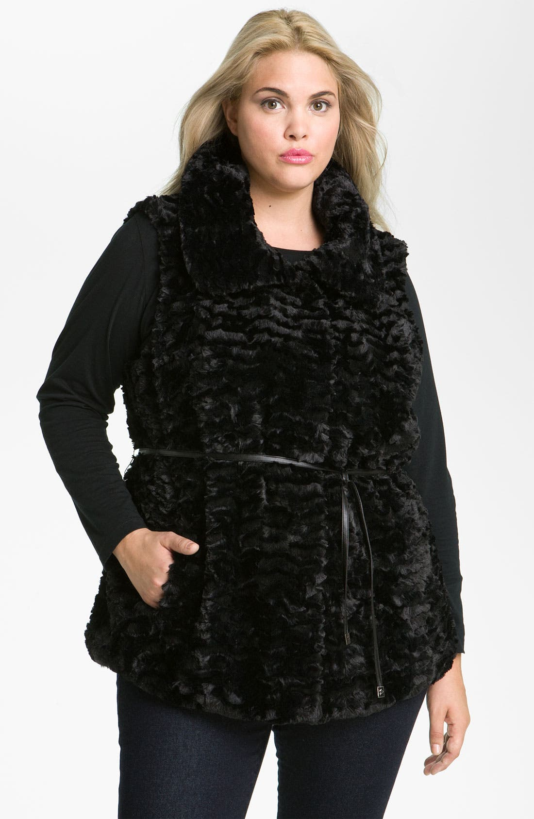 Alternate Image 1 Selected - Gallery Crushed Faux Fur Vest (Plus)