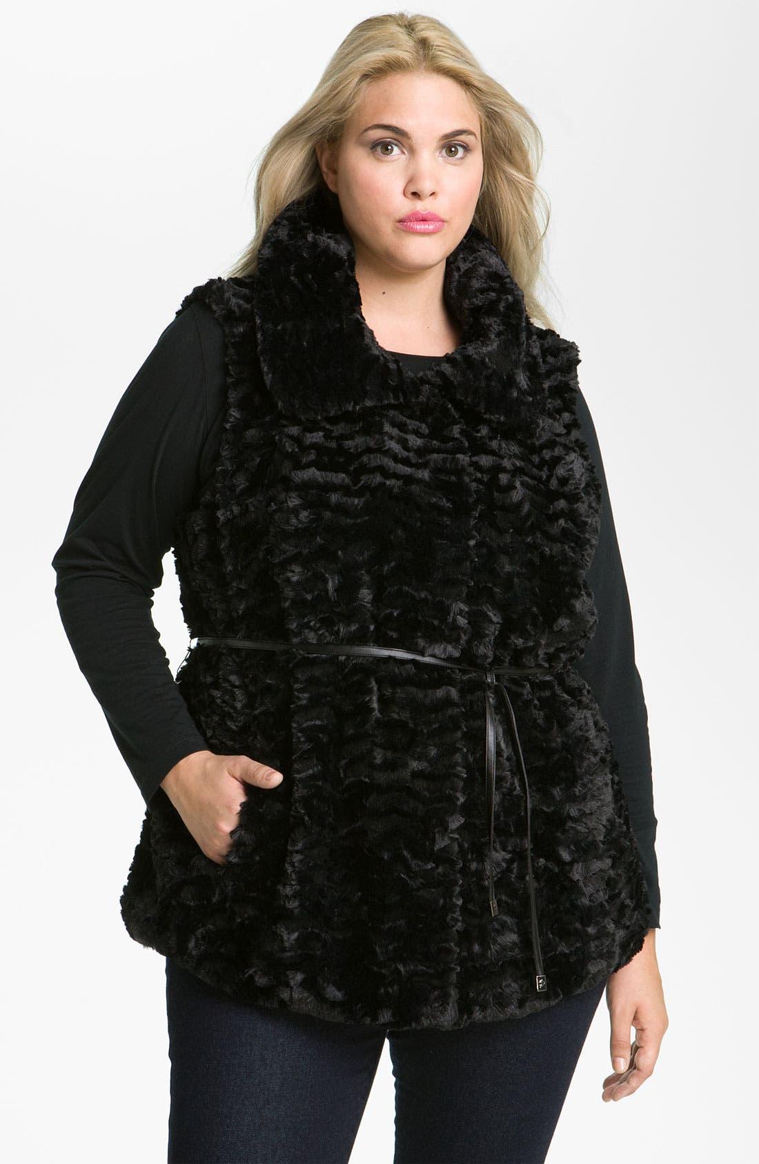 Main Image - Gallery Crushed Faux Fur Vest (Plus)
