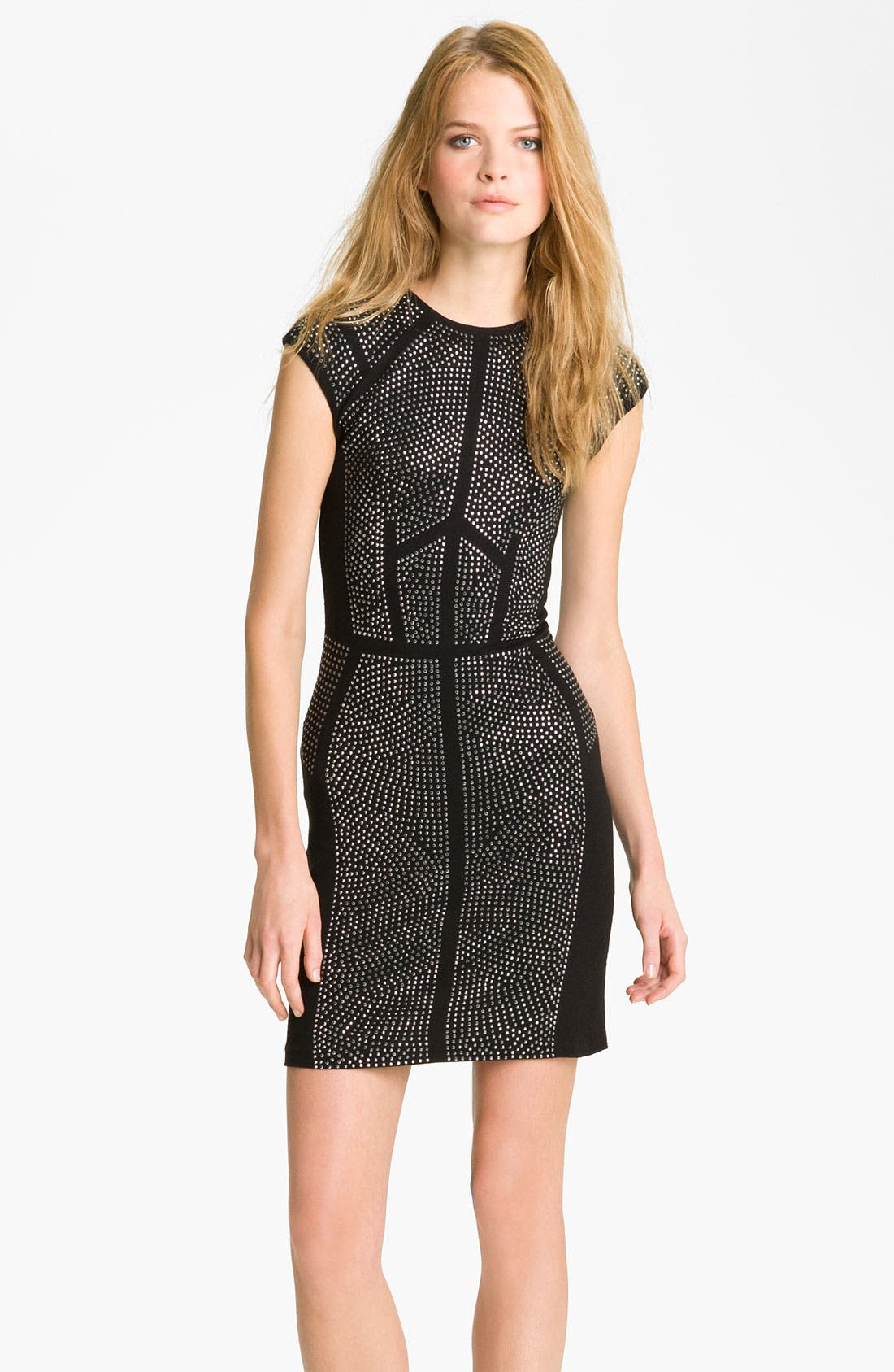 Alternate Image 1 Selected - Rebecca Taylor 'Nailhead' Studded Sheath Dress