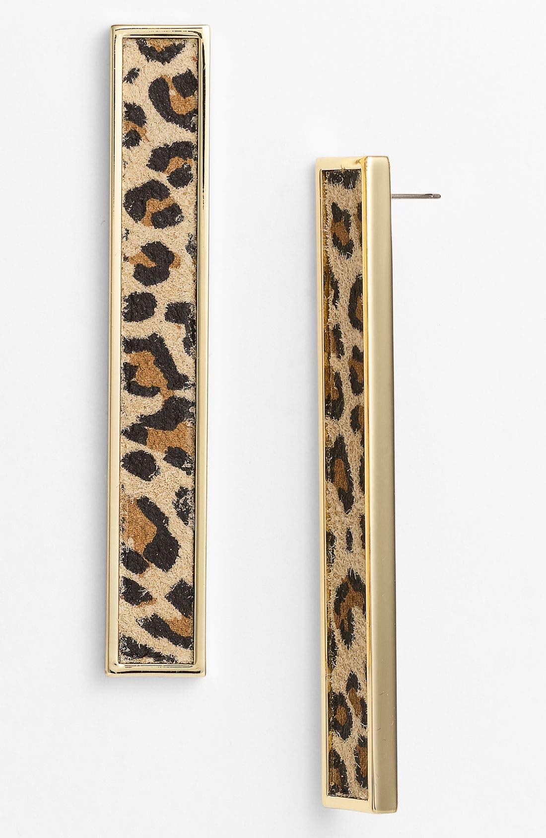 Alternate Image 1 Selected - Belle Noel Leopard Print Suede Statement Earrings