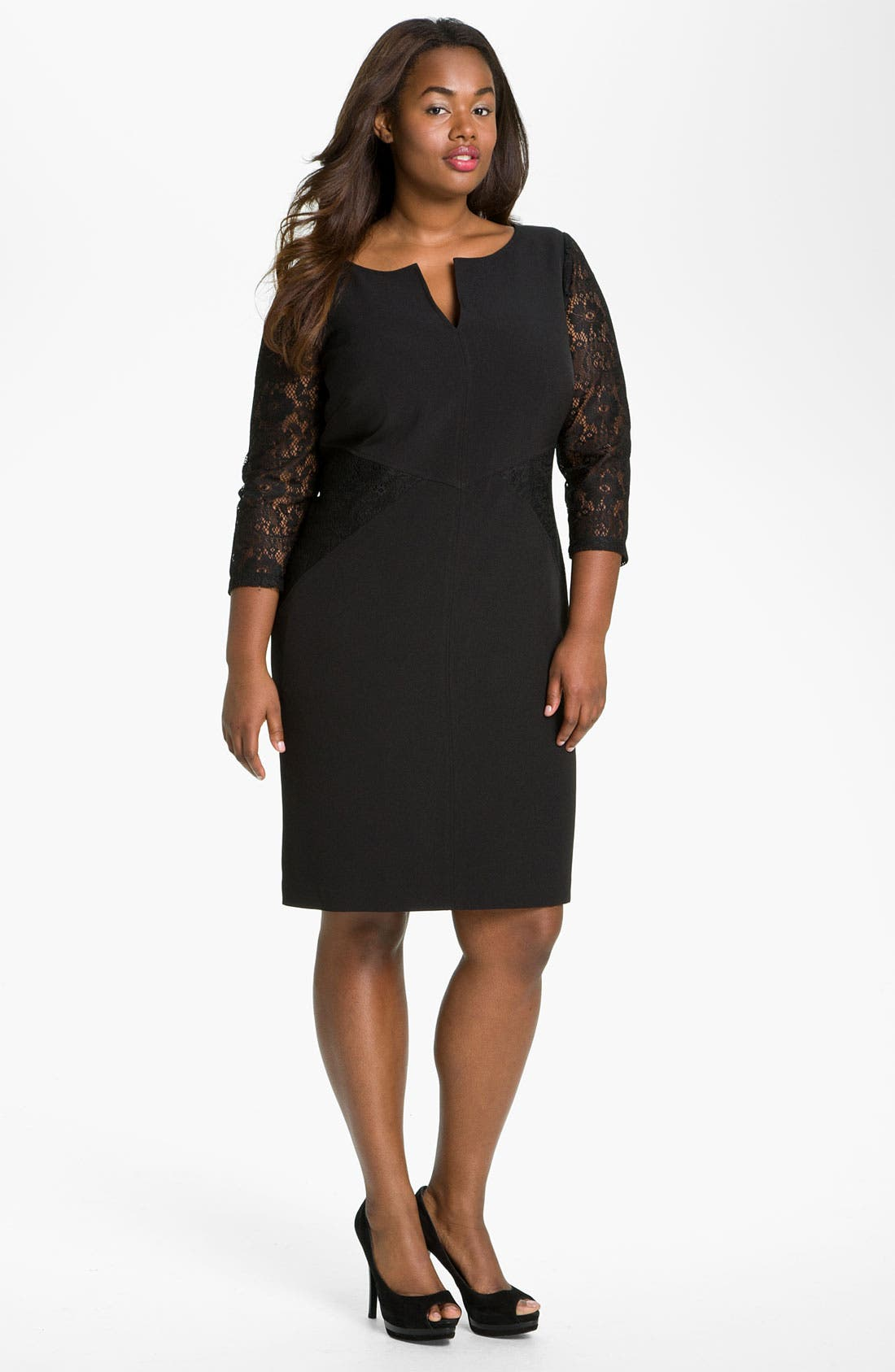 Alternate Image 1 Selected - Adrianna Papell Lace Crepe Sheath Dress (Plus)