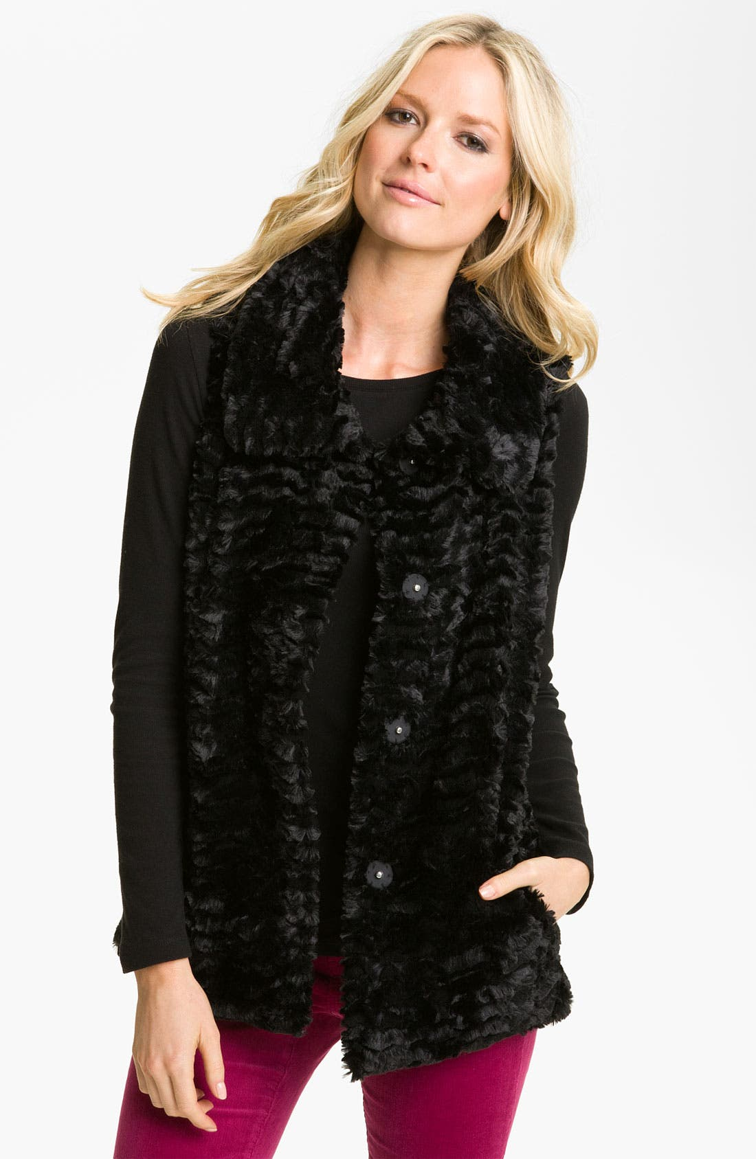 Alternate Image 3  - Gallery Reversible Crushed Faux Fur Vest