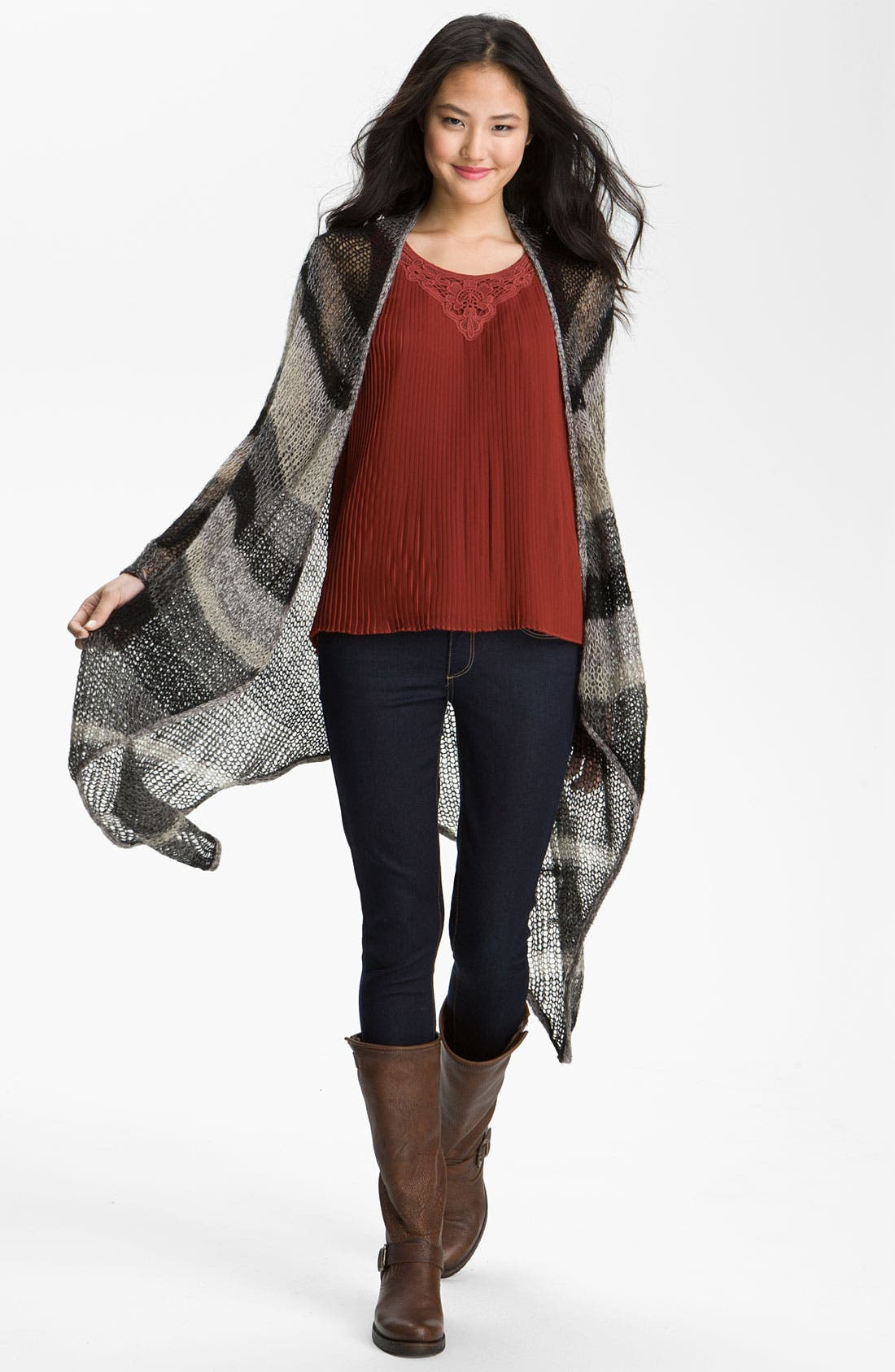 Main Image - Lucky Brand 'Chevron Stripe' Long Wrap Cardigan