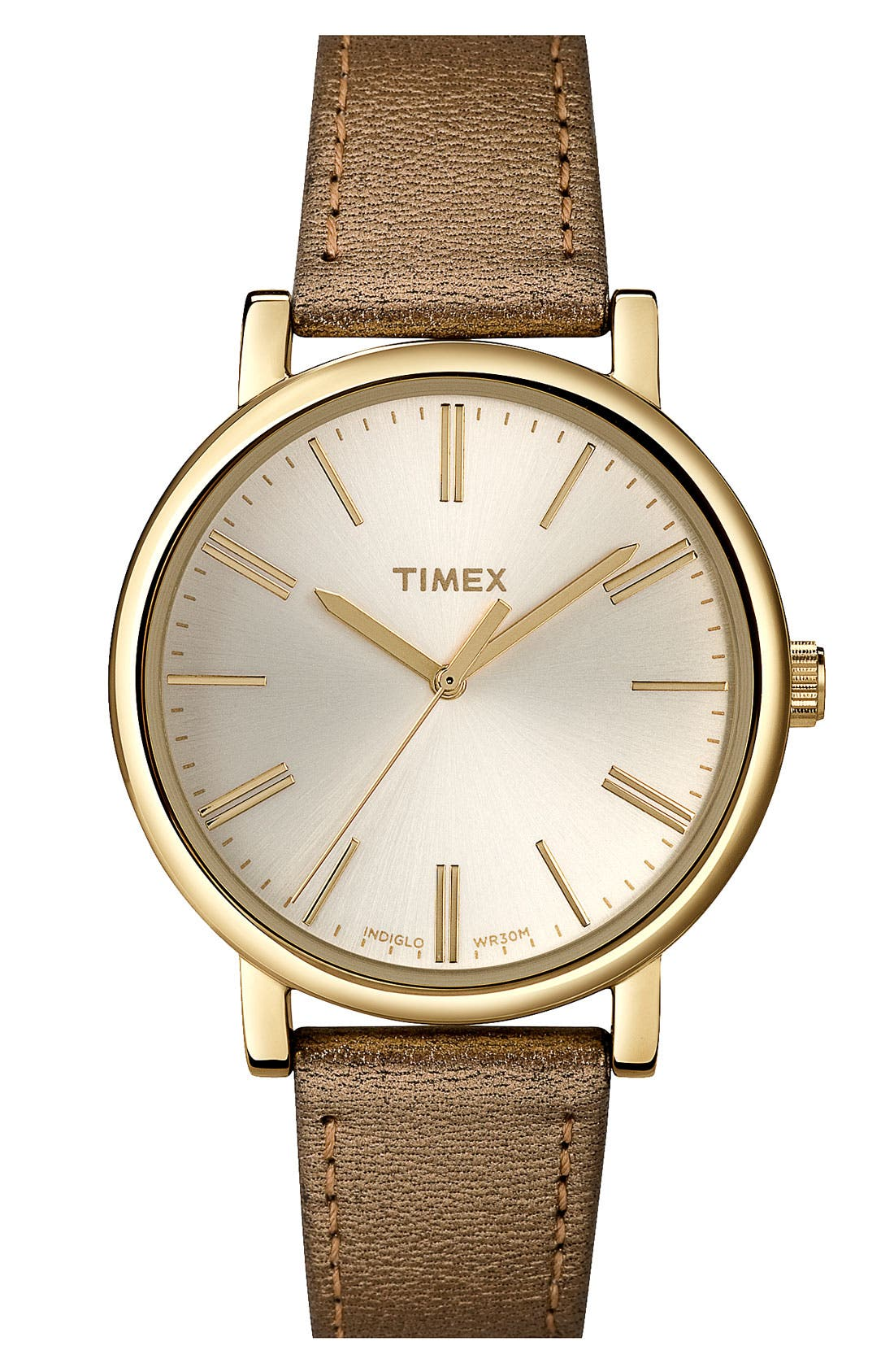 Alternate Image 1 Selected - Timex® Round Leather Strap Watch