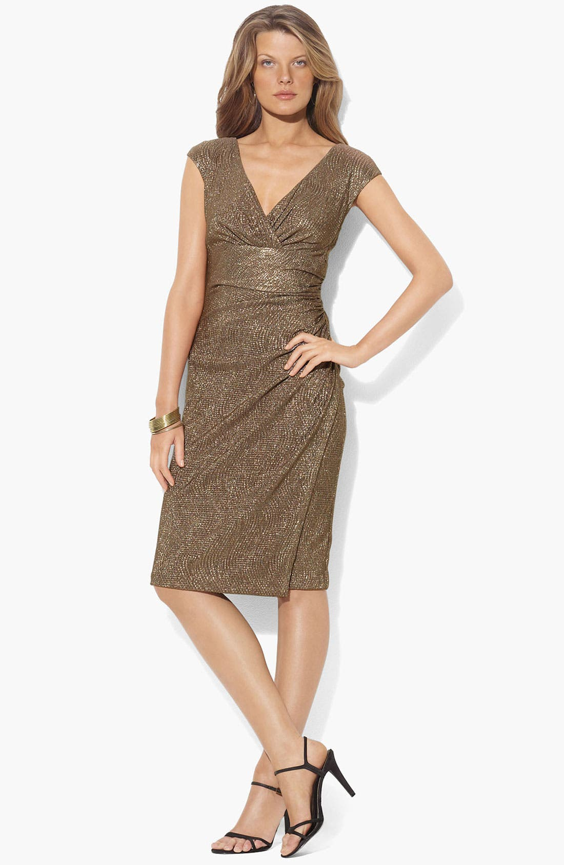 Main Image - Lauren Ralph Lauren Metallic Surplice Sheath Dress