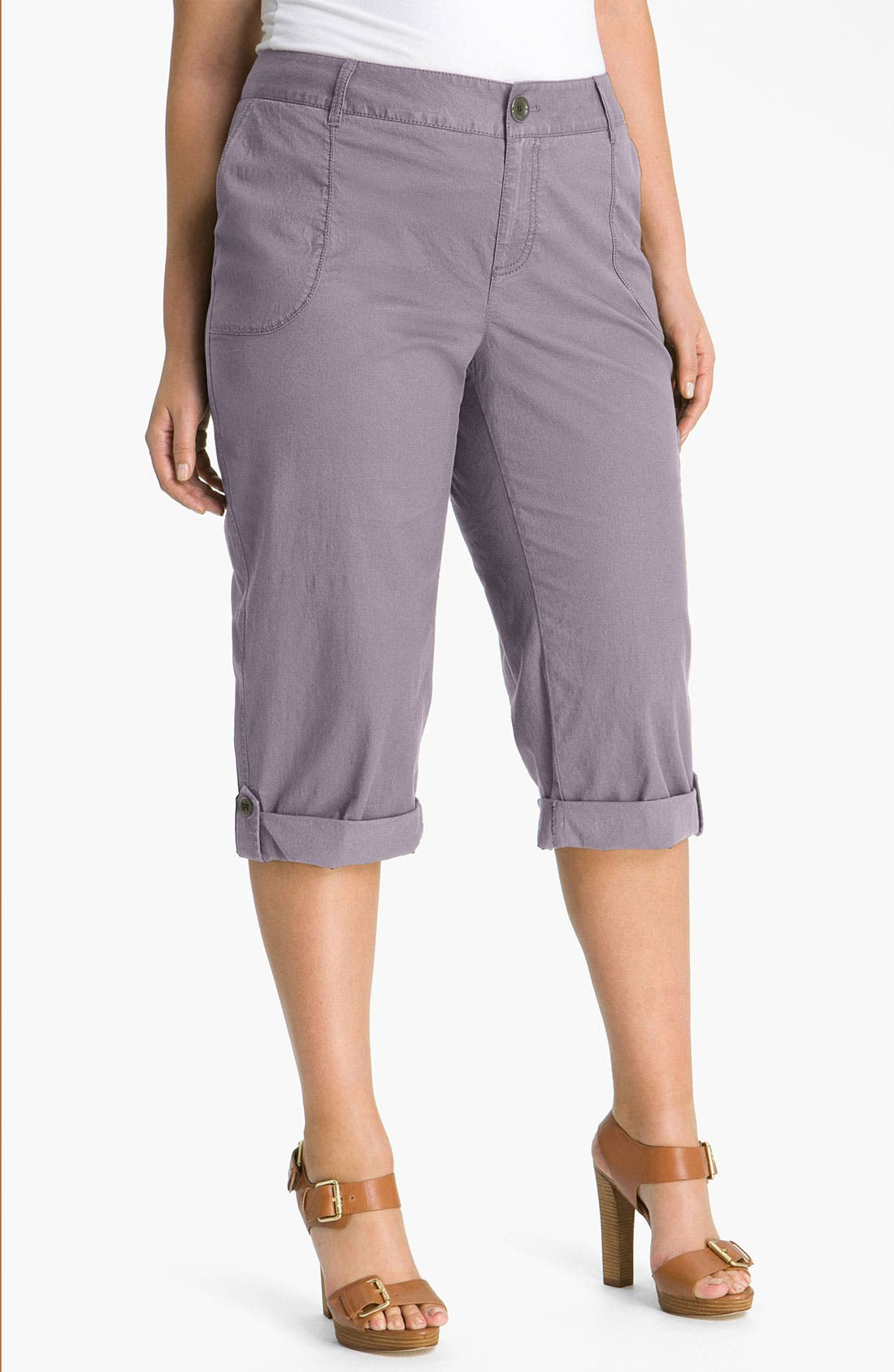 Alternate Image 1 Selected - Sejour 'Megan' Crop Cargo Pants (Plus)