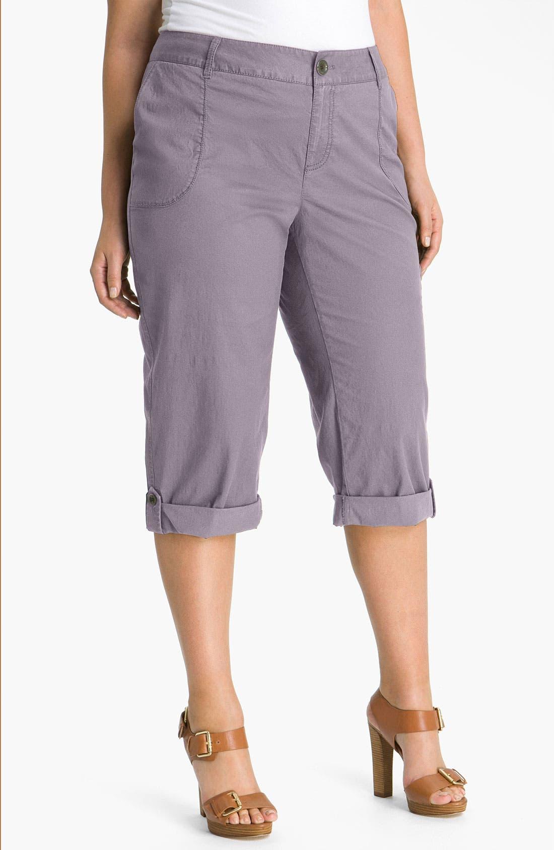 Main Image - Sejour 'Megan' Crop Cargo Pants (Plus)