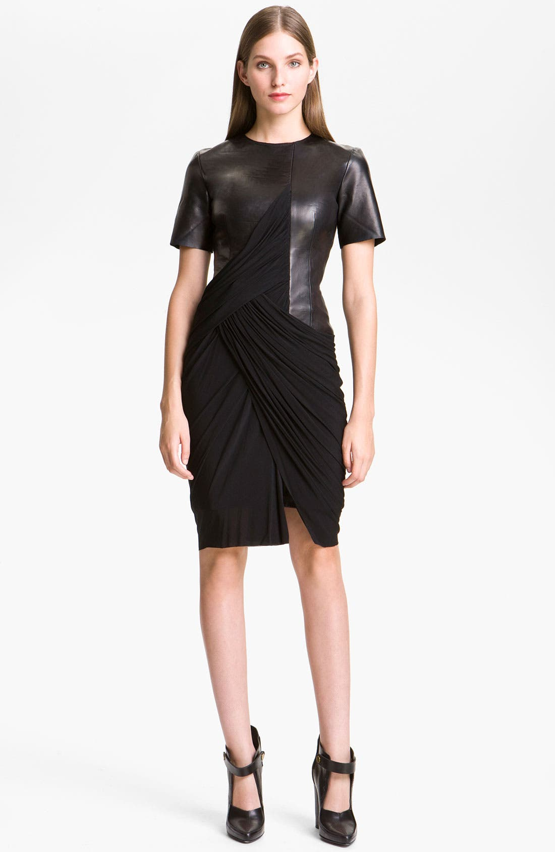 Alternate Image 1 Selected - Alexander Wang Draped Knit & Leather Dress