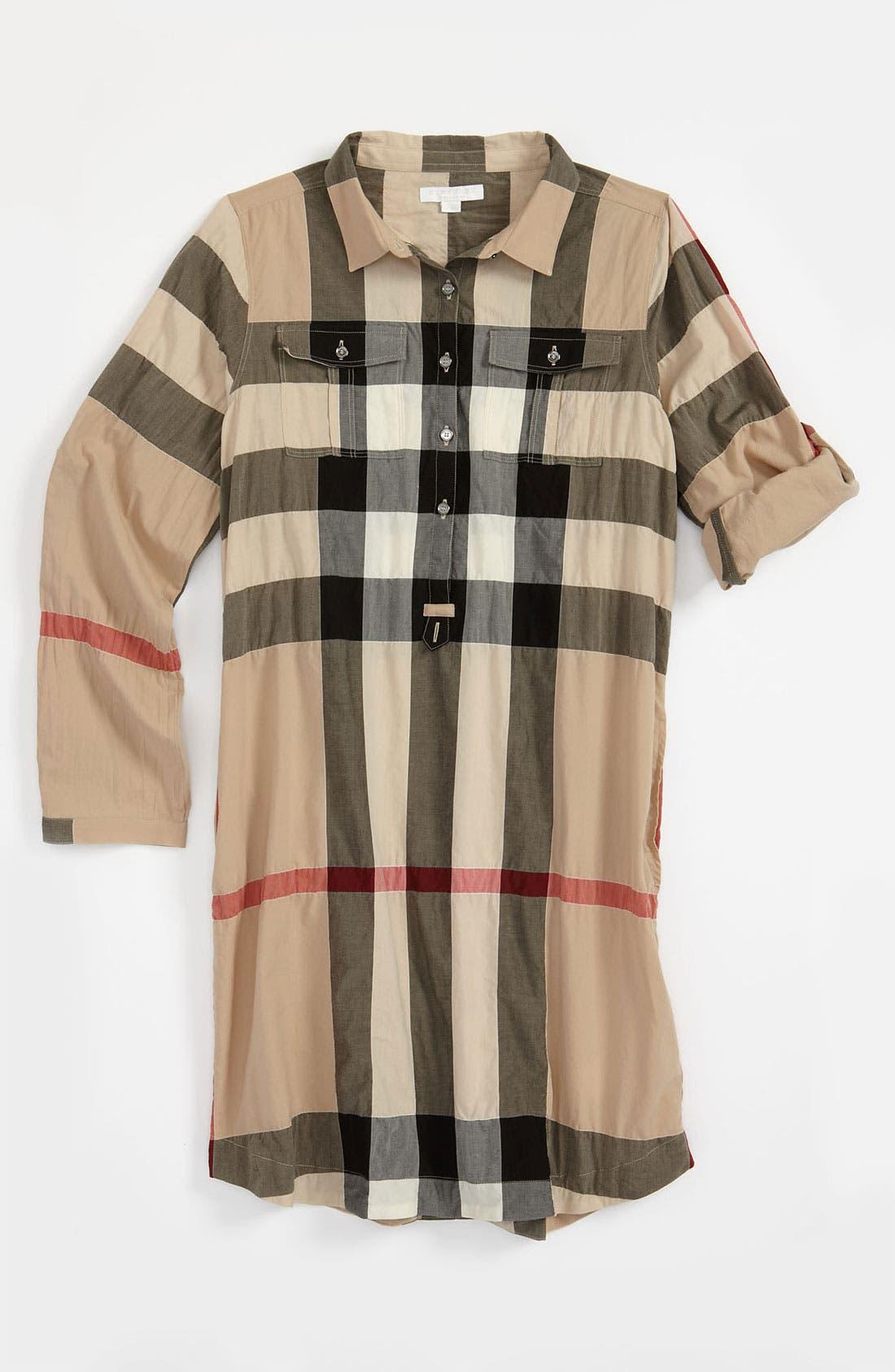 Main Image - Burberry Check Print Shirtdress (Little Girls & Big Girls)
