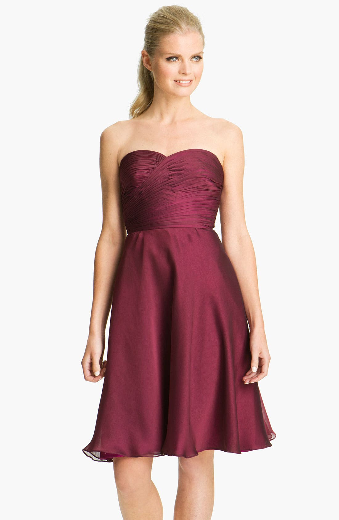 Main Image - ML Monique Lhuillier Bridesmaids Pleated Chiffon Sweetheart Dress (Nordstrom Exclusive)