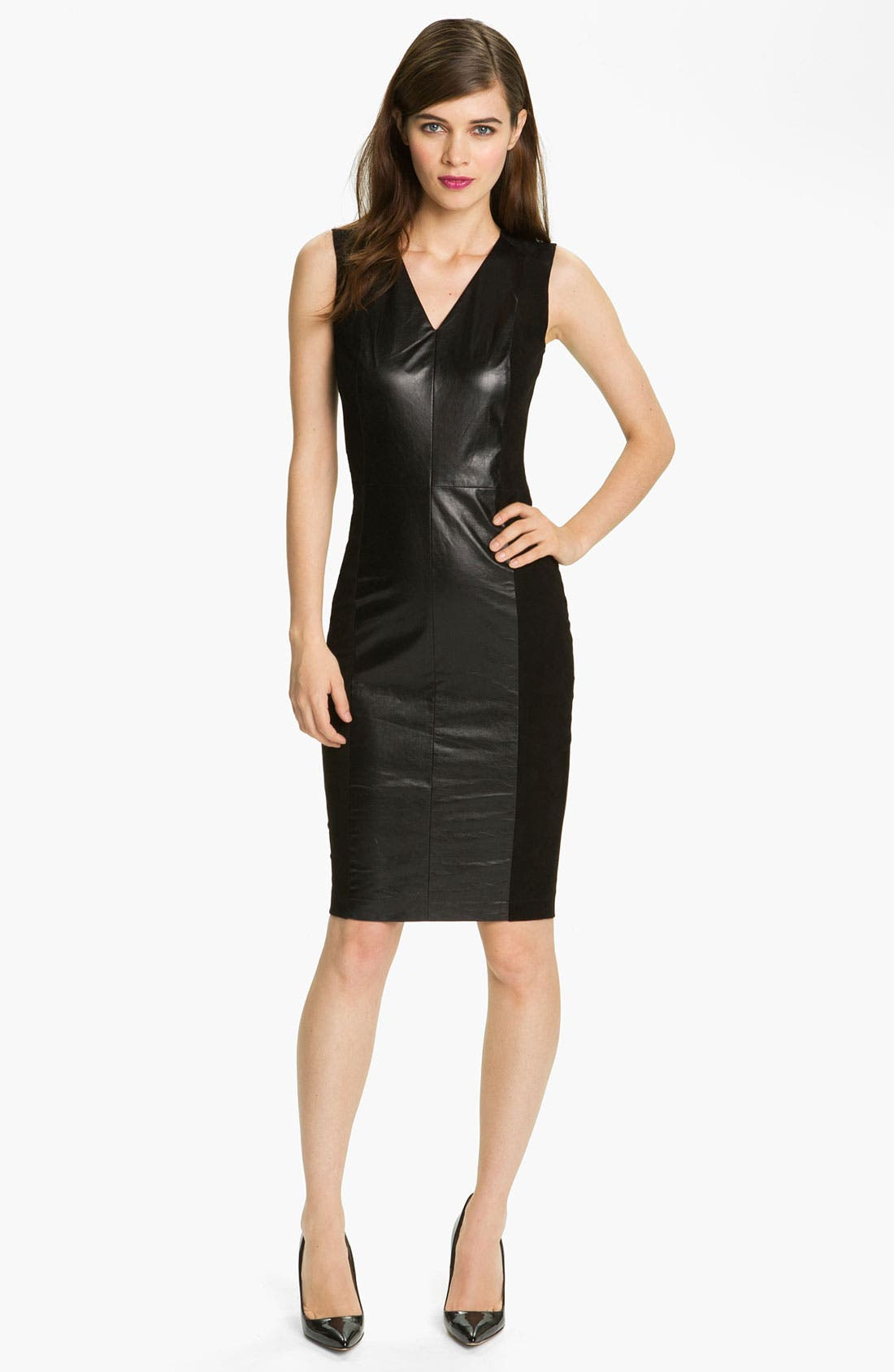 Main Image - Robert Rodriguez Leather & Suede Sheath Dress