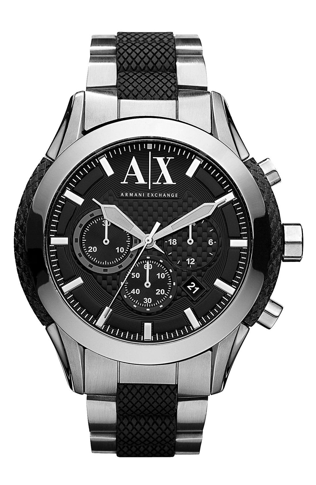Main Image - AX Armani Exchange Chronograph Bracelet Watch, 47mm