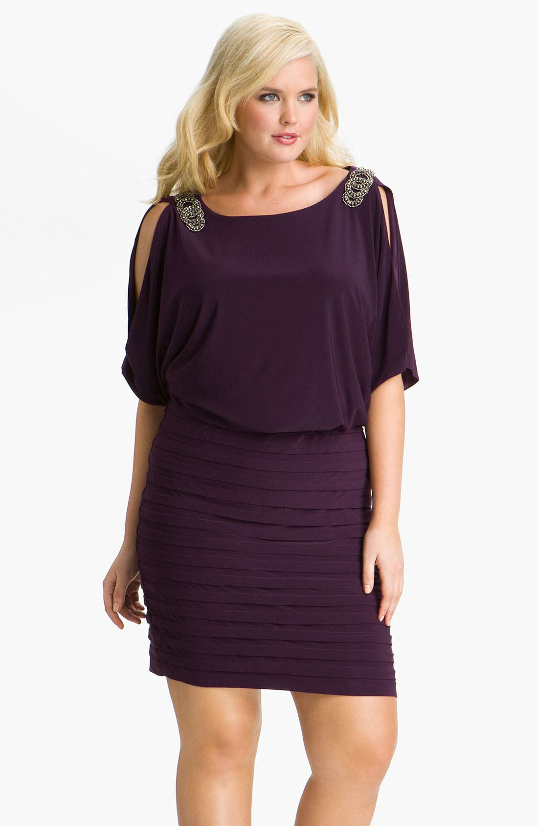Main Image - Xscape Embellished Matte Jersey Blouson Dress (Plus)