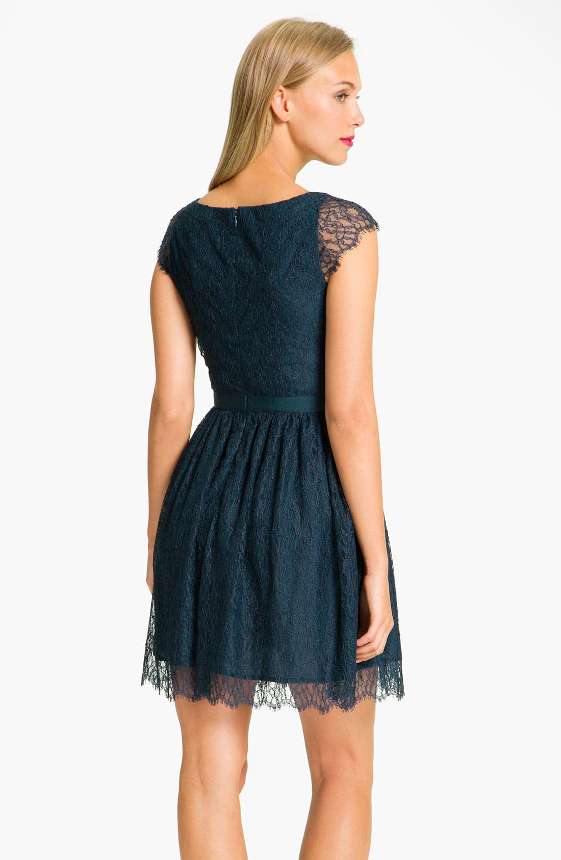 Alternate Image 2  - Shoshanna 'Risa' Cap Sleeve Chantilly Lace Dress