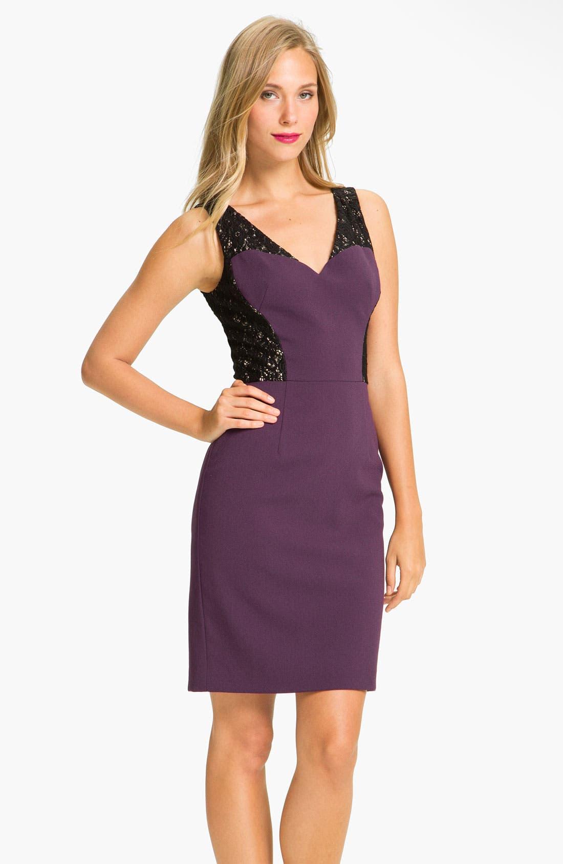 Alternate Image 1 Selected - Black Halo Lace Inset Crepe Sheath Dress