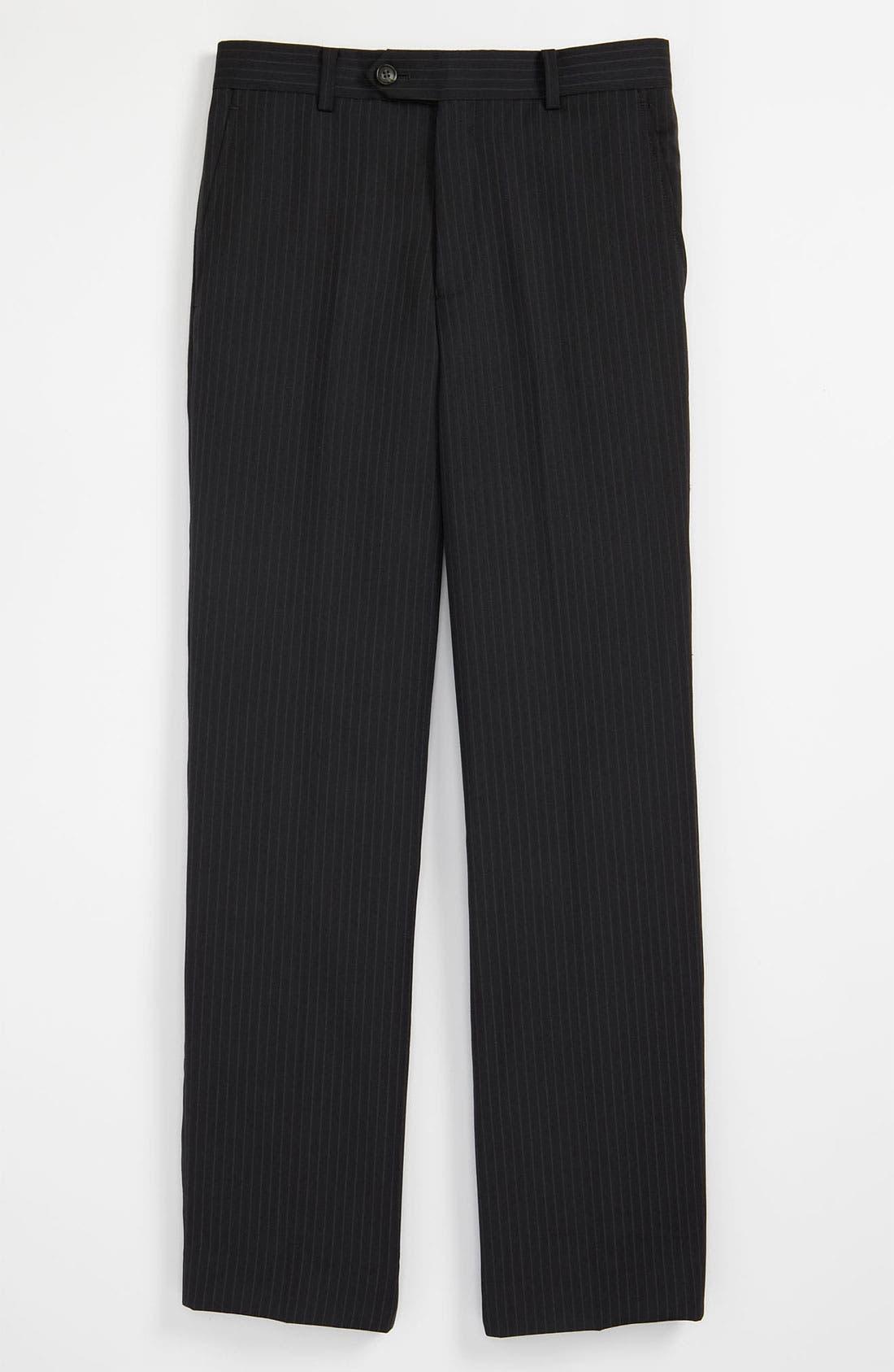 Main Image - Joseph Abboud Stripe Grey Flat Front Dress Pants (Big Boys)