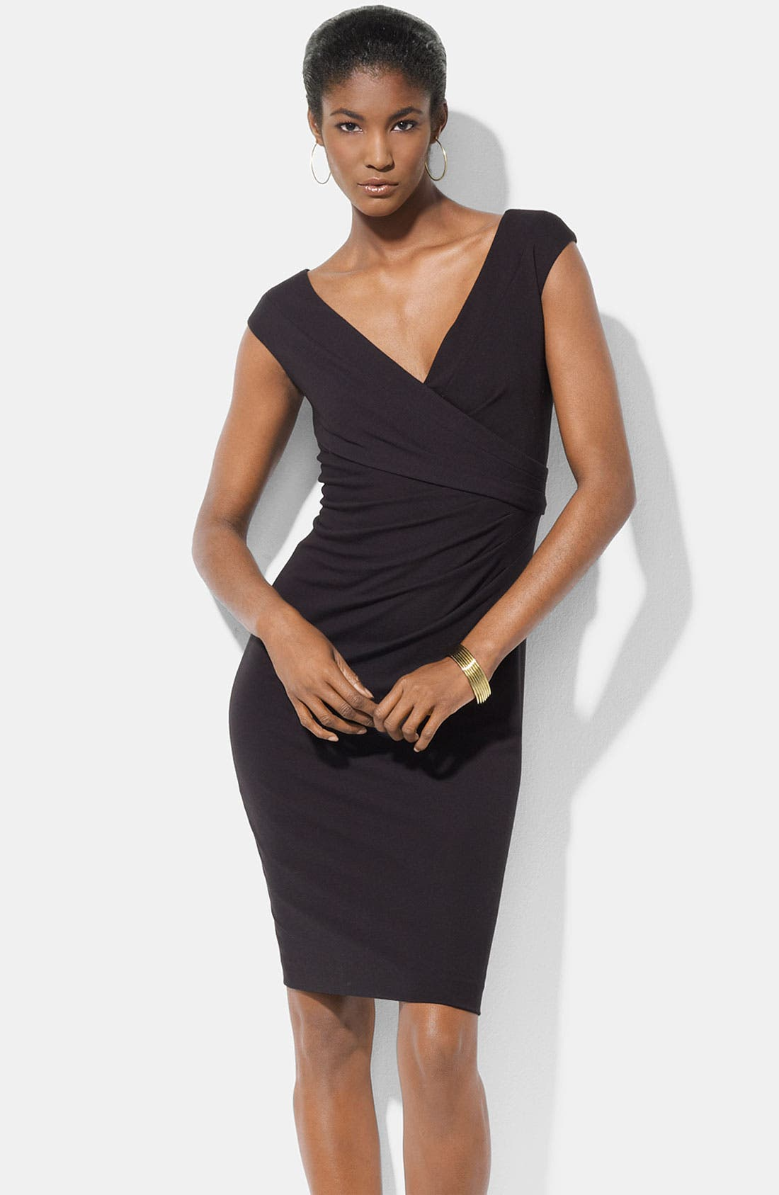 Main Image - Lauren Ralph Lauren Double V-Neck Jersey Sheath Dress
