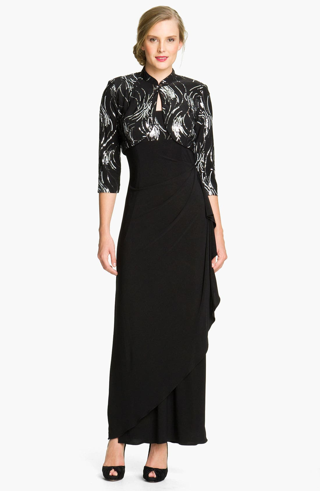 Main Image - Alex Evenings Side Drape Jersey Gown & Sequin Jacket