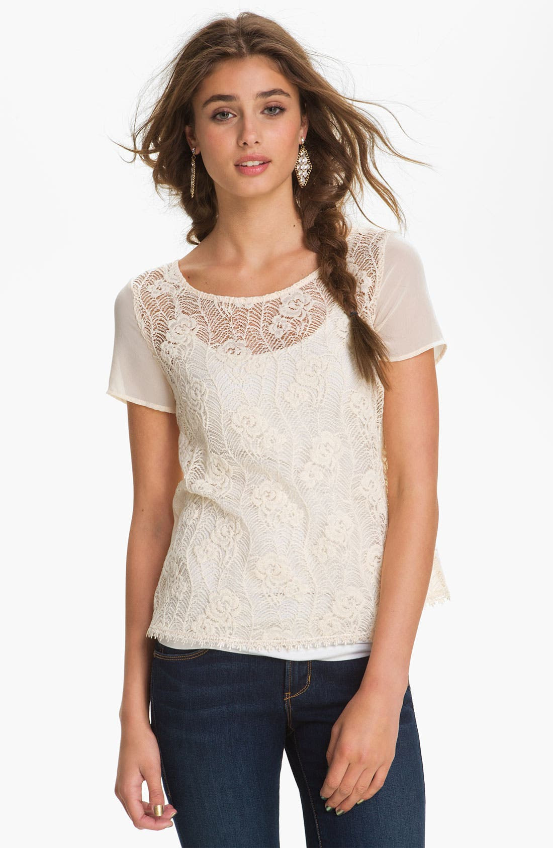 Alternate Image 1 Selected - Lush Button Back Top (Juniors)