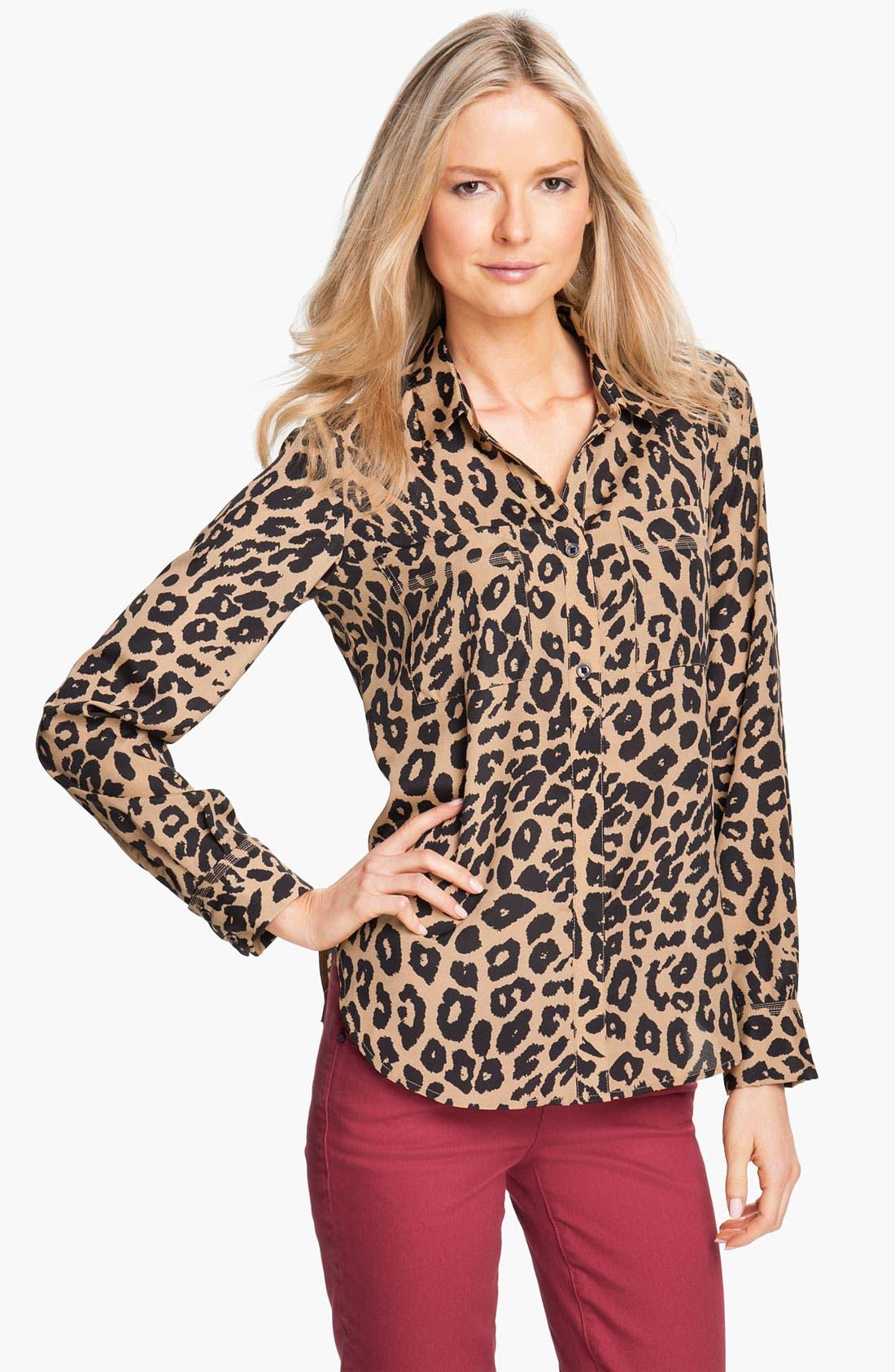 Alternate Image 1 Selected - Isaac Mizrahi Jeans 'Alexis' Leopard Print Shirt