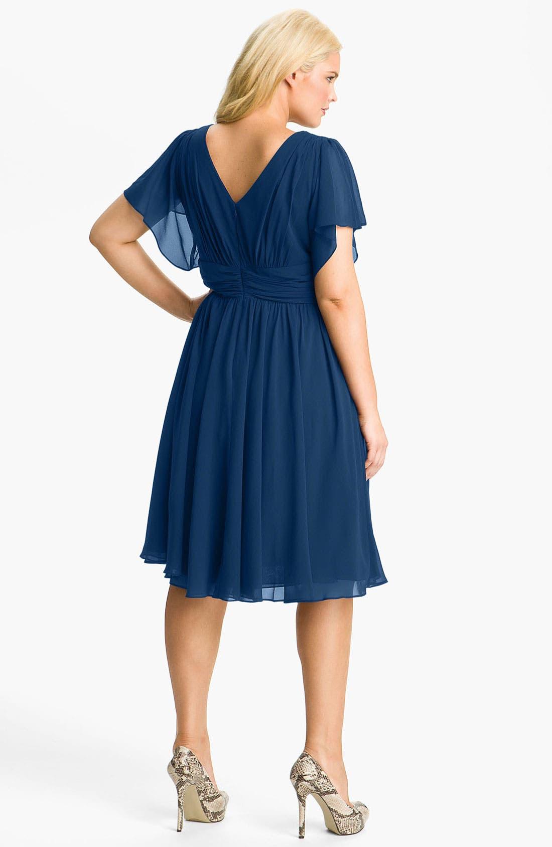 Alternate Image 2  - Ivy & Blu Flutter Sleeve Dress (Plus)