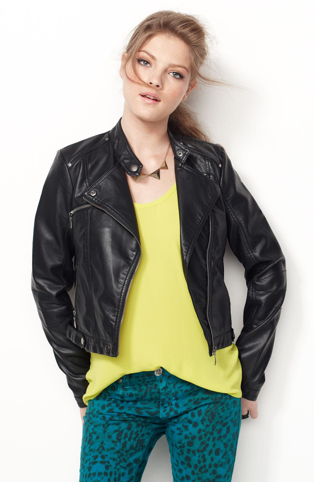 Alternate Image 4  - Collection B 'Vera' Faux Leather Biker Jacket (Juniors)