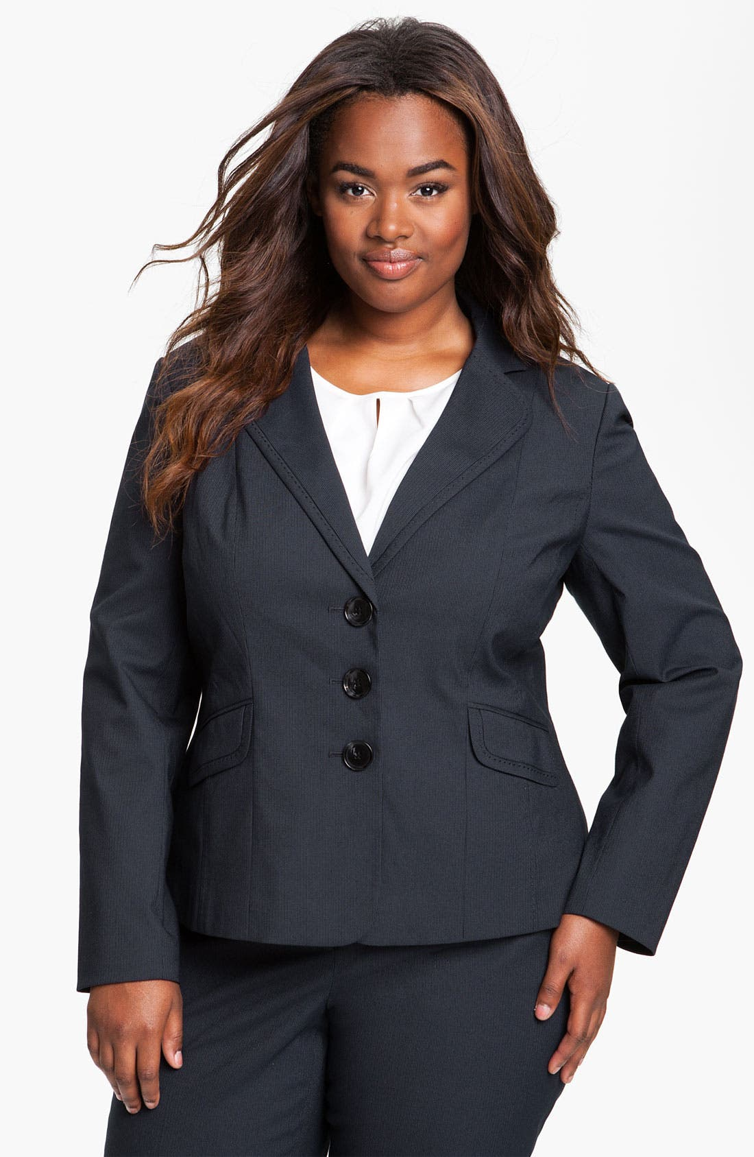 Alternate Image 1 Selected - Sejour Pinstripe Suit Jacket (Plus)