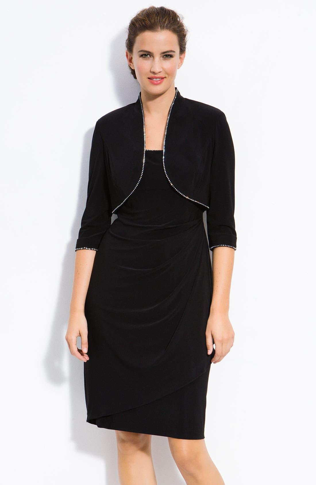 Alternate Image 1 Selected - Alex Evenings Rhinestone Trim Dress & Jacket (Petite)