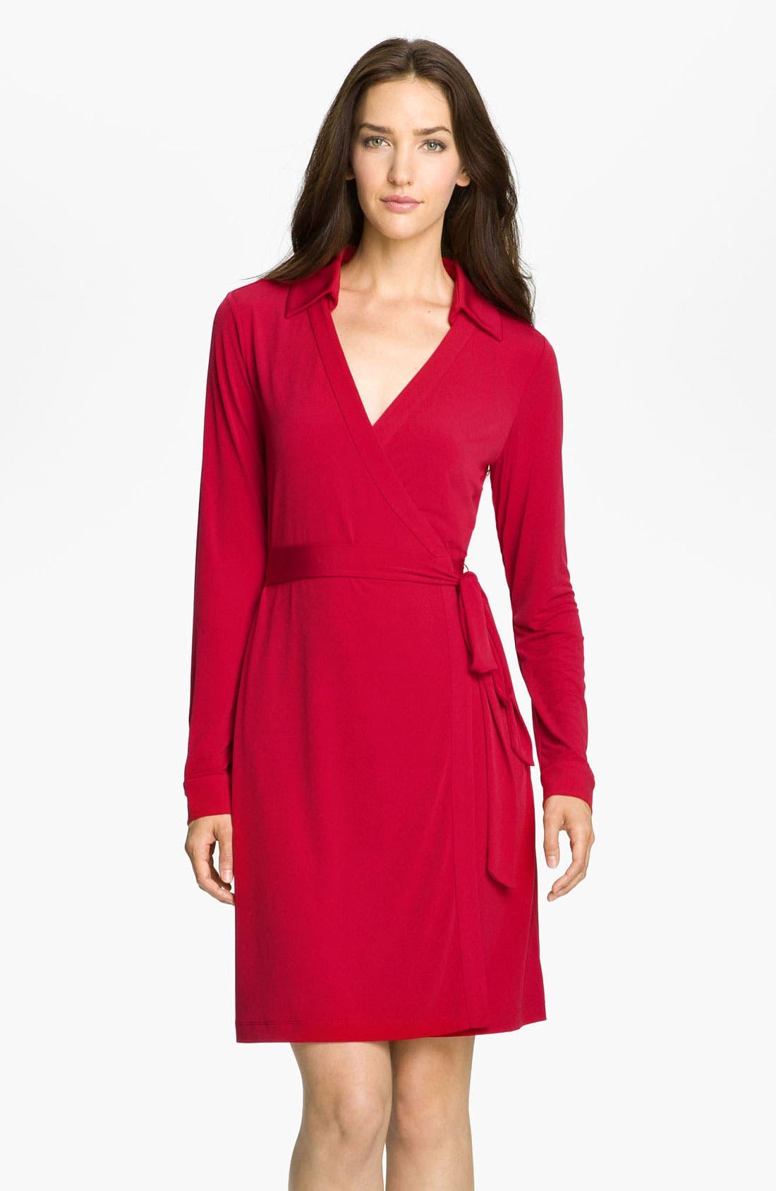 Main Image - Calvin Klein Collared Jersey Wrap Dress